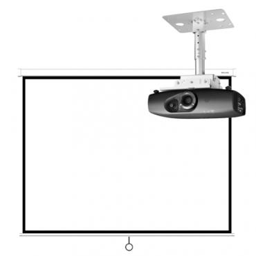 Монтаж проектора и экрана с ручным приводом
